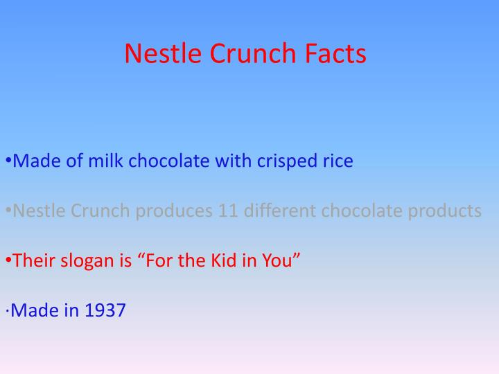 Nestle Crunch Facts