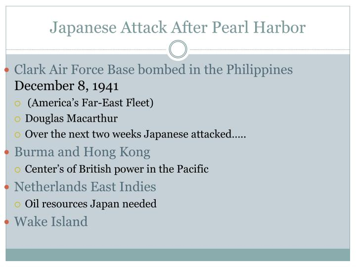 Japanese Attack After Pearl Harbor