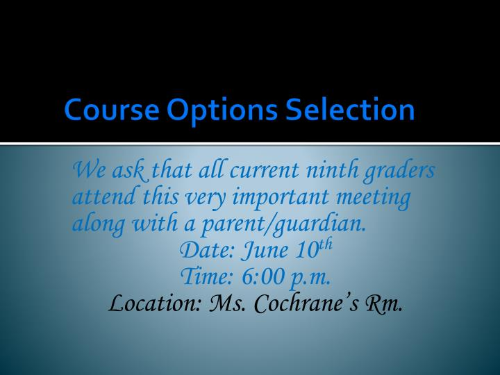 Course options selection