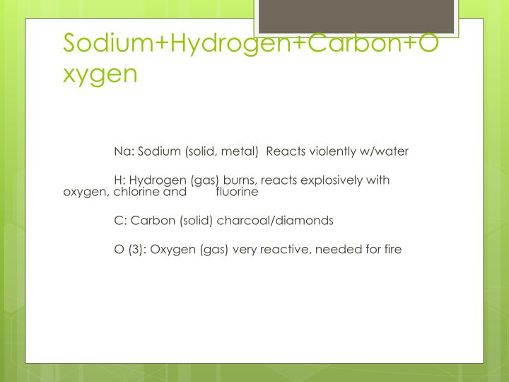 Sodium+Hydrogen+Carbon+Oxygen