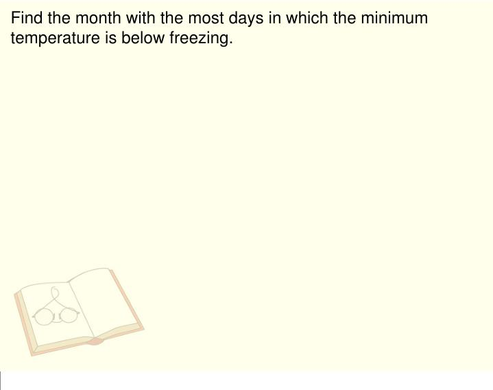 Find the month with the most days in which the minimum temperature is below freezing.