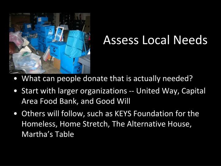 Assess Local Needs