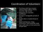 coordination of volunteers