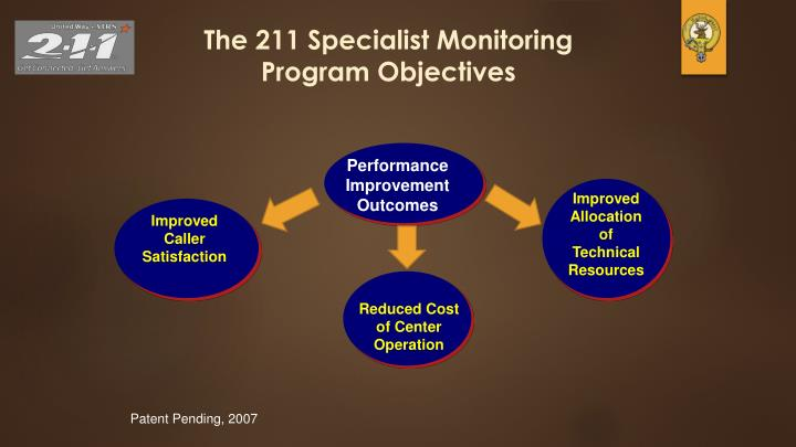 The 211 Specialist Monitoring Program Objectives