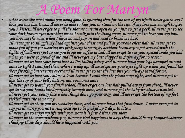 A Poem For Martyn