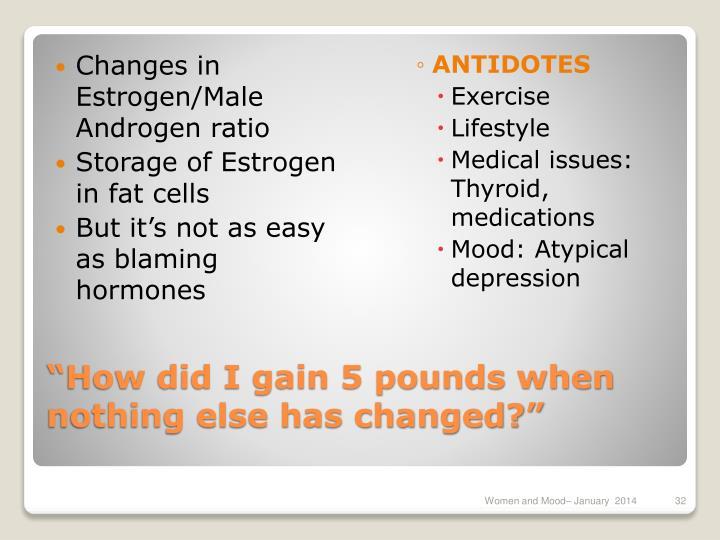 Changes in Estrogen/Male Androgen ratio