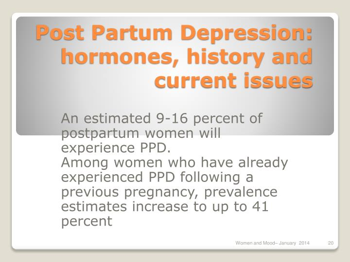 Post Partum Depression: hormones, history and current issues