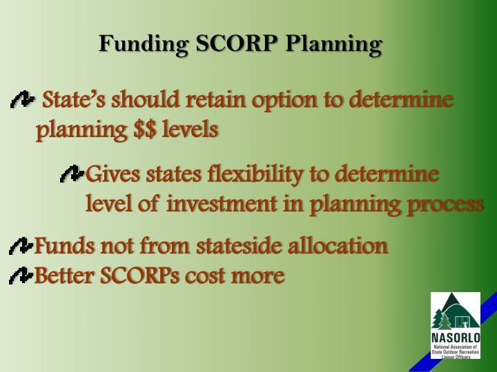 Funding SCORP Planning