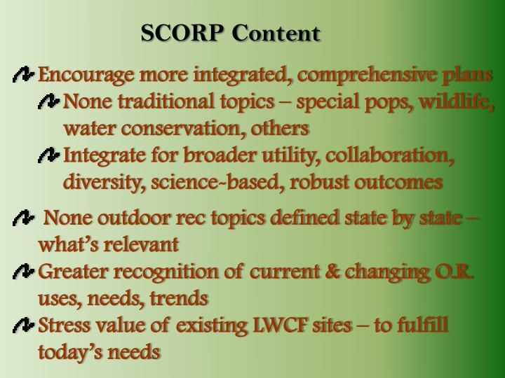SCORP Content