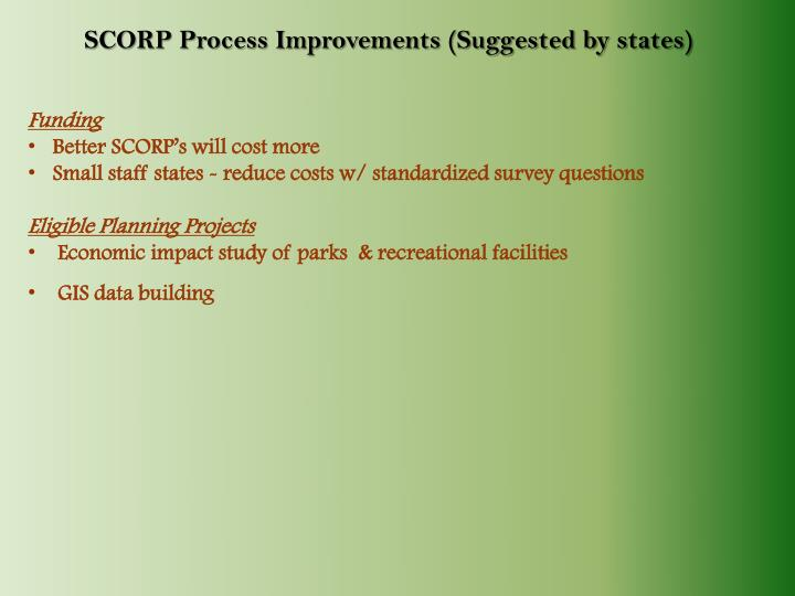 SCORP Process Improvements (Suggested by states)
