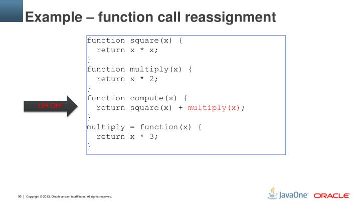 Example – function call reassignment