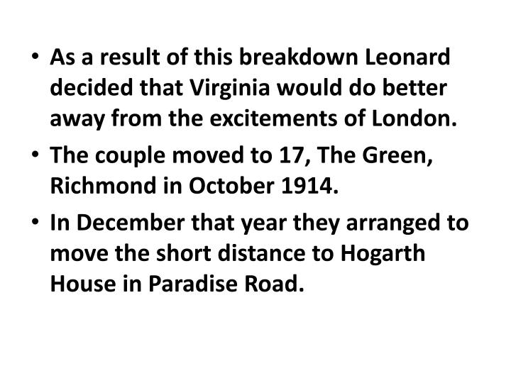 As a result of this breakdown Leonard decided that Virginia would do better away from the excitements of London.