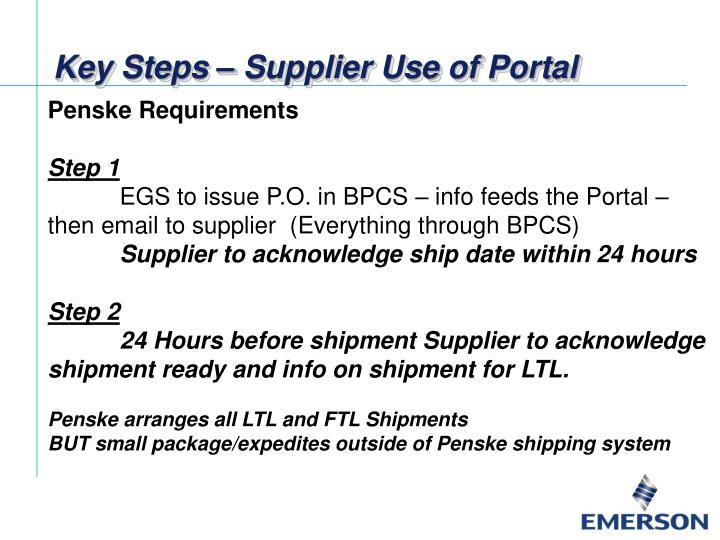 Key Steps – Supplier Use of Portal