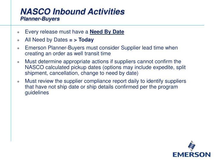 NASCO Inbound Activities