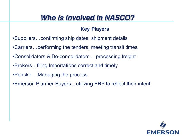 Who is involved in NASCO?