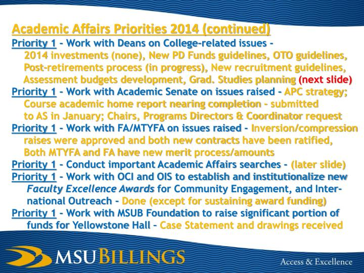 Academic Affairs Priorities 2014 (continued)