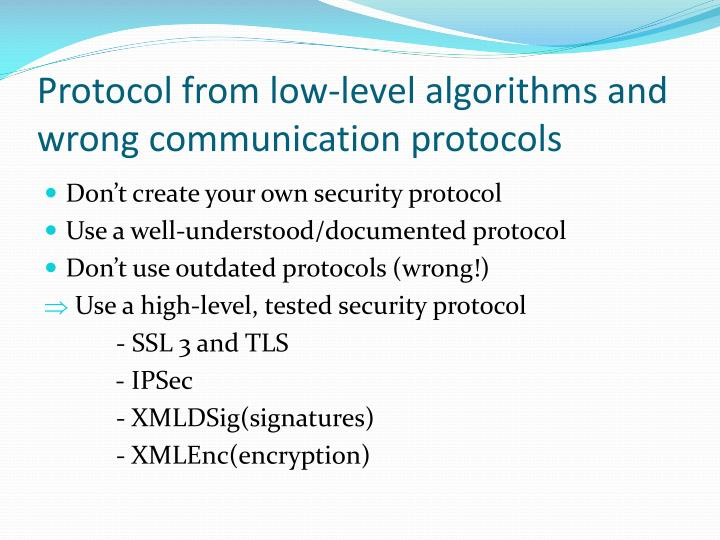 Protocol from low level algorithms and wrong communication protocols