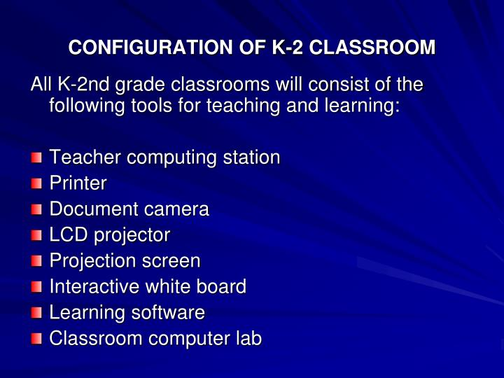 CONFIGURATION OF K-2 CLASSROOM
