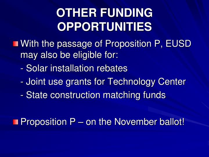 OTHER FUNDING OPPORTUNITIES