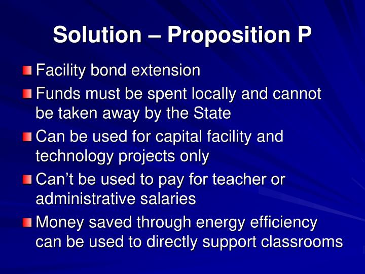 Solution – Proposition P