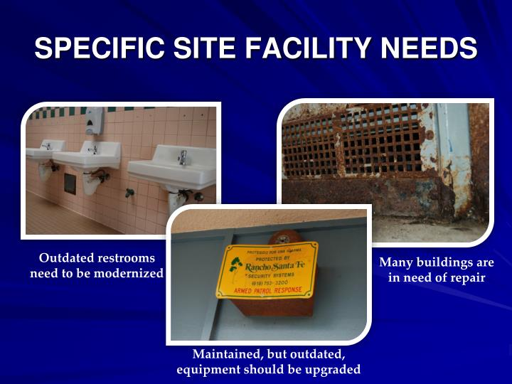 SPECIFIC SITE FACILITY NEEDS