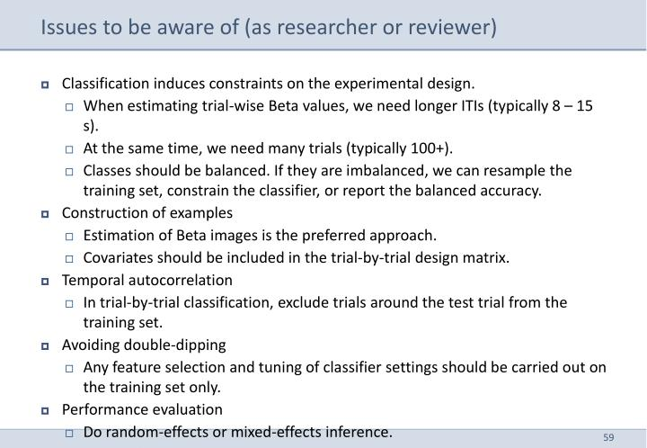 Issues to be aware of (as researcher or reviewer)