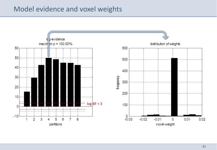 Model evidence and voxel weights