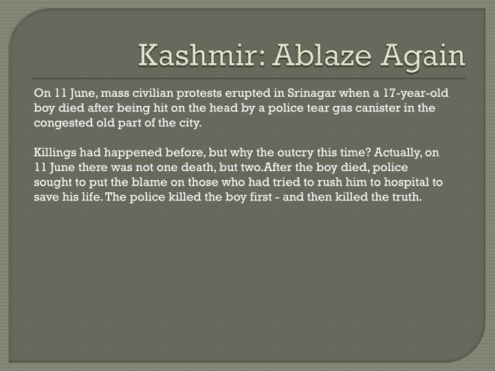 Kashmir: Ablaze Again