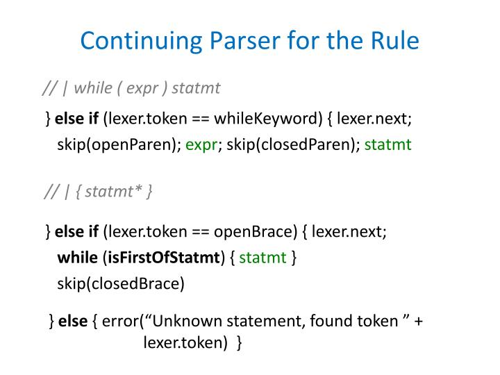 Continuing Parser for the Rule
