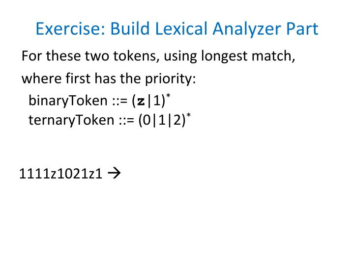 Exercise build lexical analyzer part