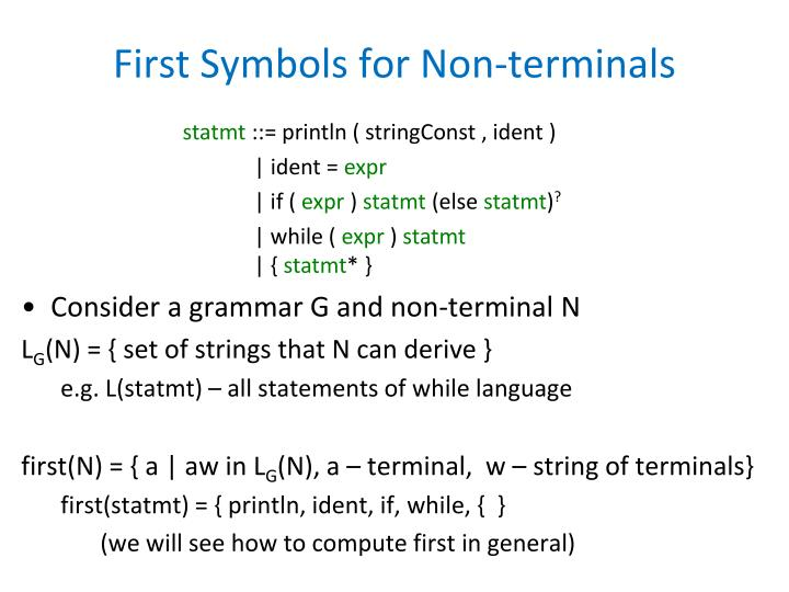 First Symbols for Non-terminals