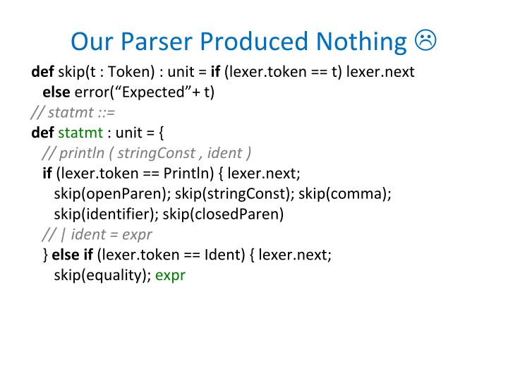 Our Parser Produced