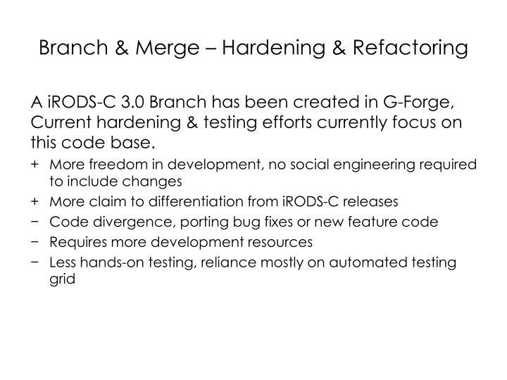 Branch & Merge – Hardening & Refactoring