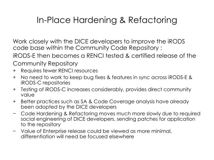 In-Place Hardening & Refactoring