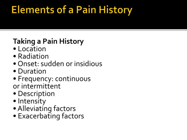 Elements of a Pain History