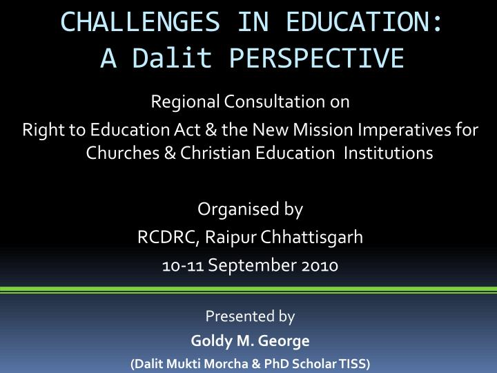 Challenges in education a dalit perspective
