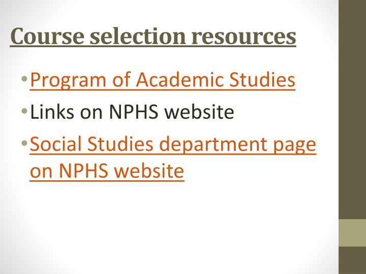 Course selection resources