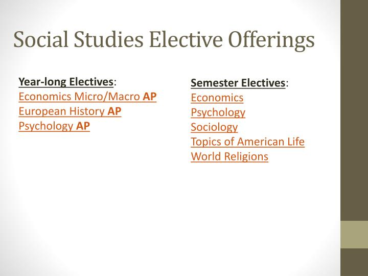 Social Studies Elective Offerings