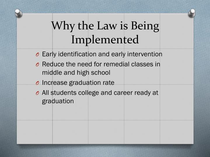 Why the Law is Being Implemented