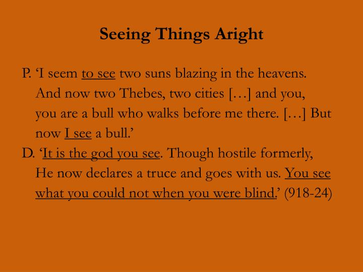 Seeing Things Aright