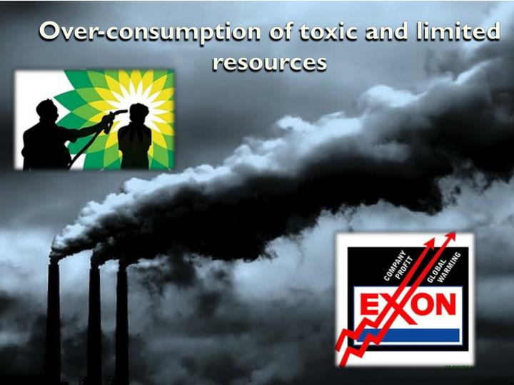 Over-consumption of toxic and limited resources