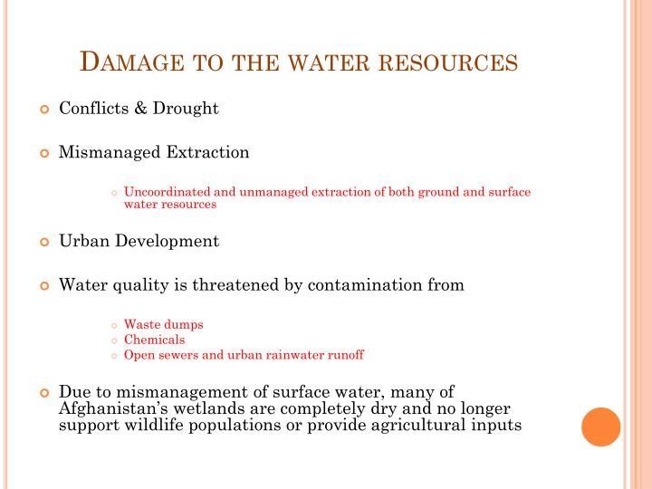 Damage to the water resources