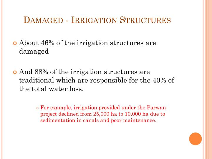 Damaged - Irrigation Structures