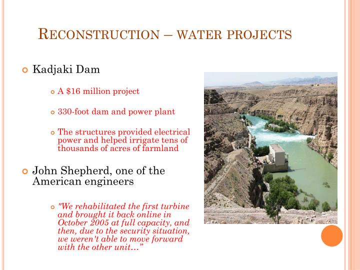 Reconstruction – water projects