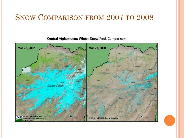 Snow Comparison from 2007 to 2008