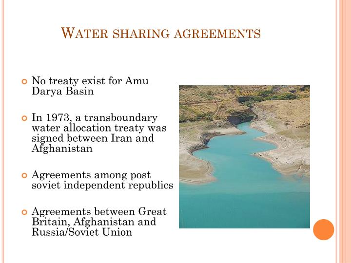 Water sharing agreements