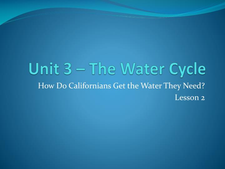 Unit 3 the water cycle