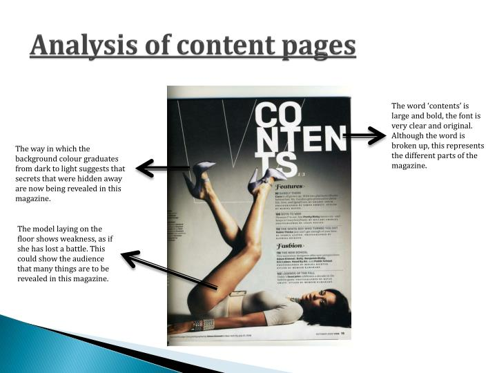 Analysis of content pages
