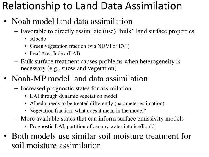 Relationship to Land Data Assimilation