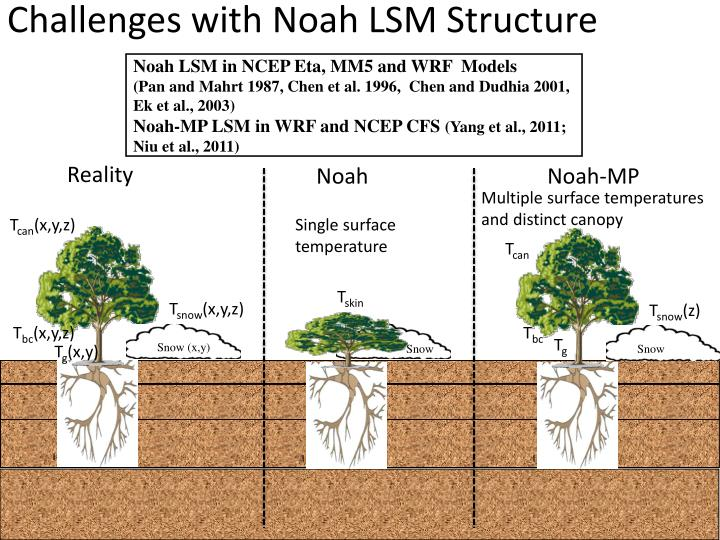 Challenges with Noah LSM Structure